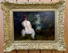 Classical 19th century French Nude of a lady in the Barbizon Forest