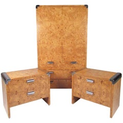 Leon Rosen Armoire and Nightstands for Pace Collection