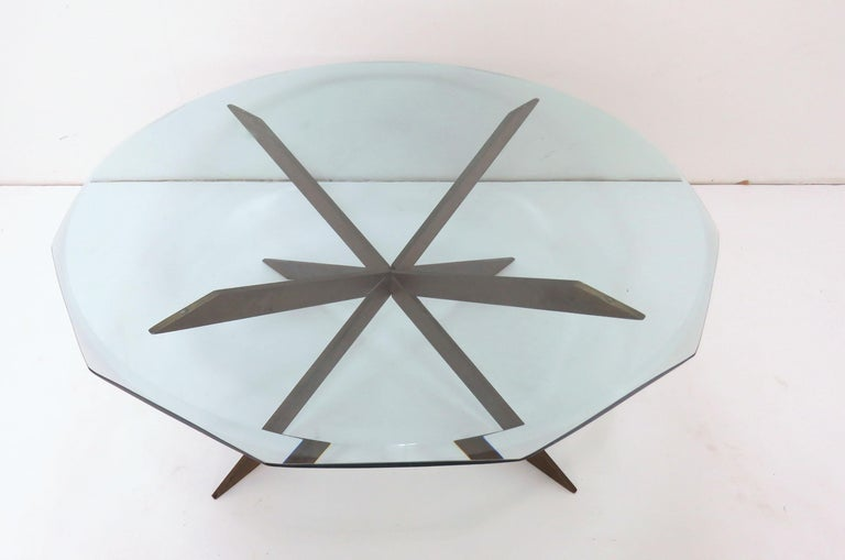 Mid-Century Modern Leon Rosen for Pace Bronze X-Form Coffee Table For Sale