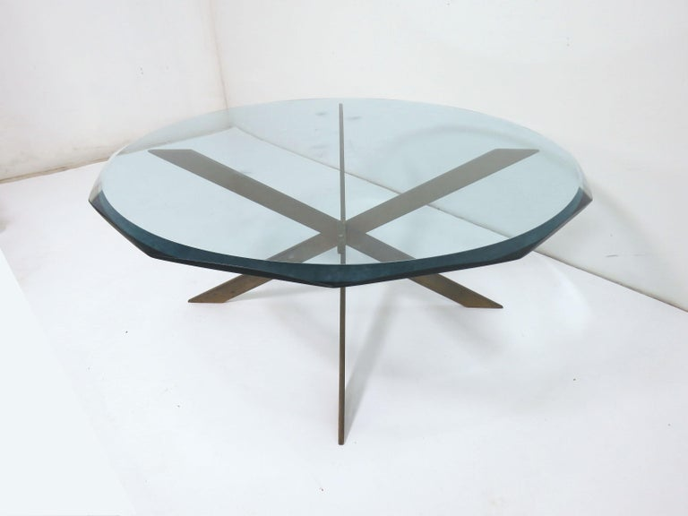 American Leon Rosen for Pace Bronze X-Form Coffee Table For Sale