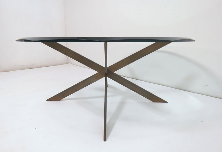 Leon Rosen for Pace Bronze X-Form Coffee Table In Good Condition For Sale In Peabody, MA