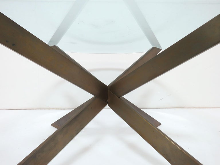 Late 20th Century Leon Rosen for Pace Bronze X-Form Coffee Table For Sale