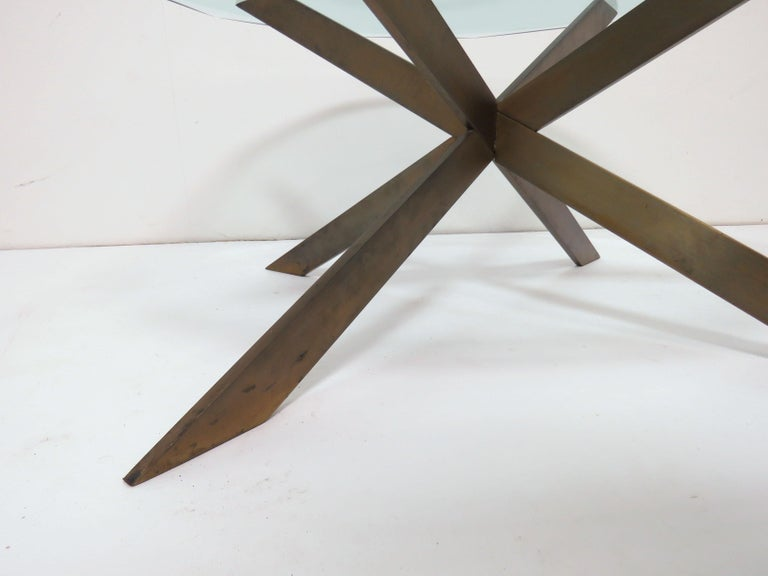 Leon Rosen for Pace Bronze X-Form Coffee Table For Sale 1