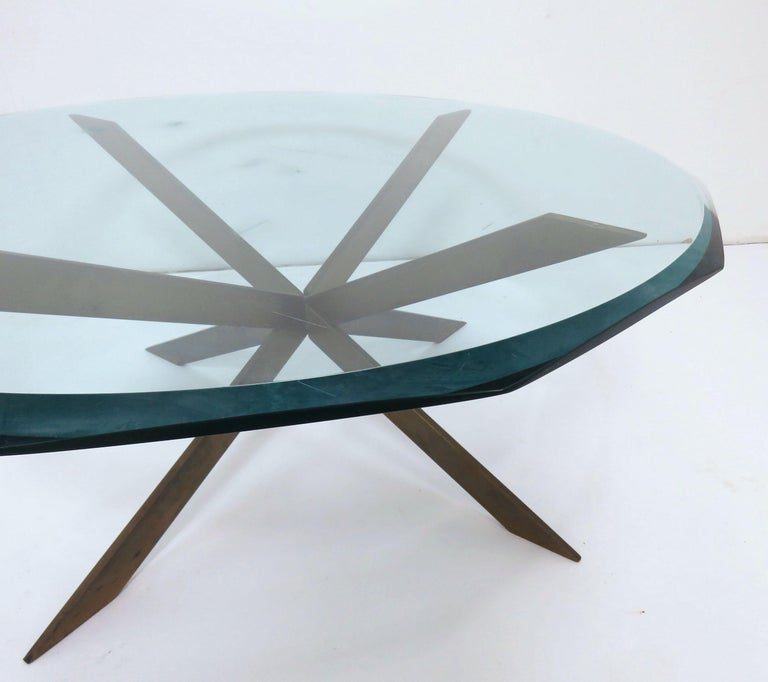 Leon Rosen for Pace Bronze X-Form Coffee Table For Sale 3