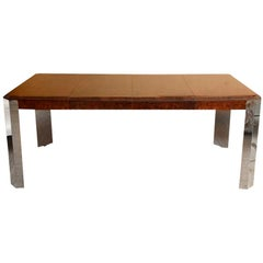 Leon Rosen for Pace Burled Wood and Stainless Steel Dining Table and Game Table