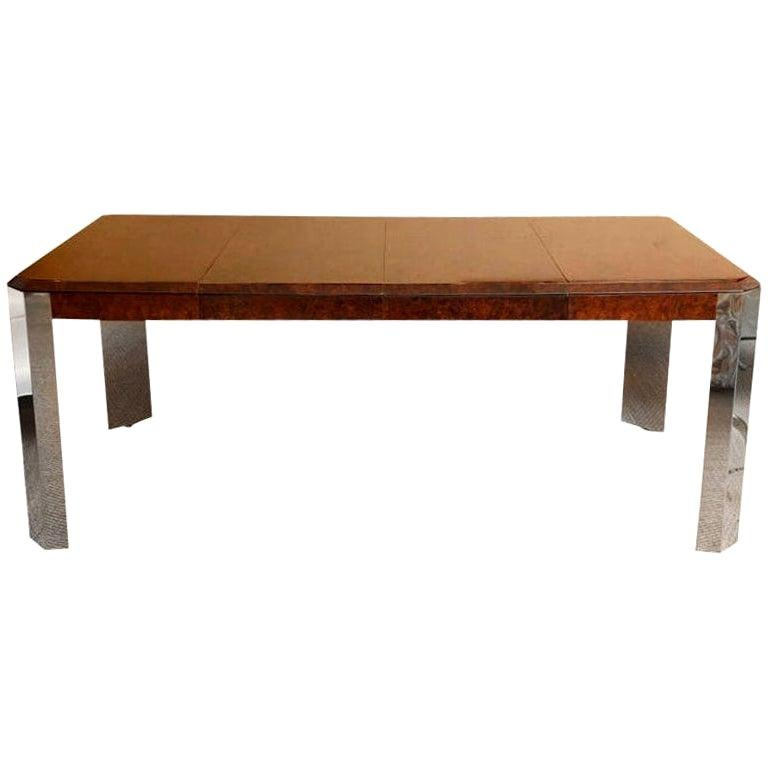 Leon Rosen for Pace Burled Wood and Stainless Steel Dining Table and Game Table For Sale