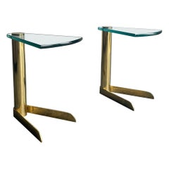 "Leon Rosen for Pace Collection Brass and Glass Cantilevered ""Wedge"" Drink Tables"