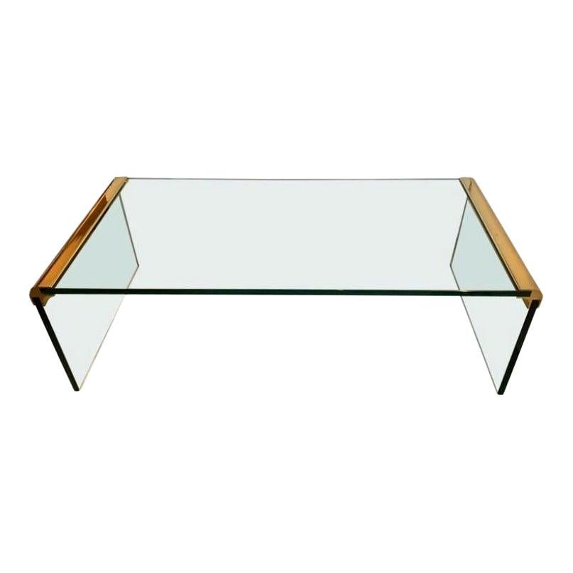 Leon Rosen for Pace Collection Brass & Glass Waterfall Cocktail Table