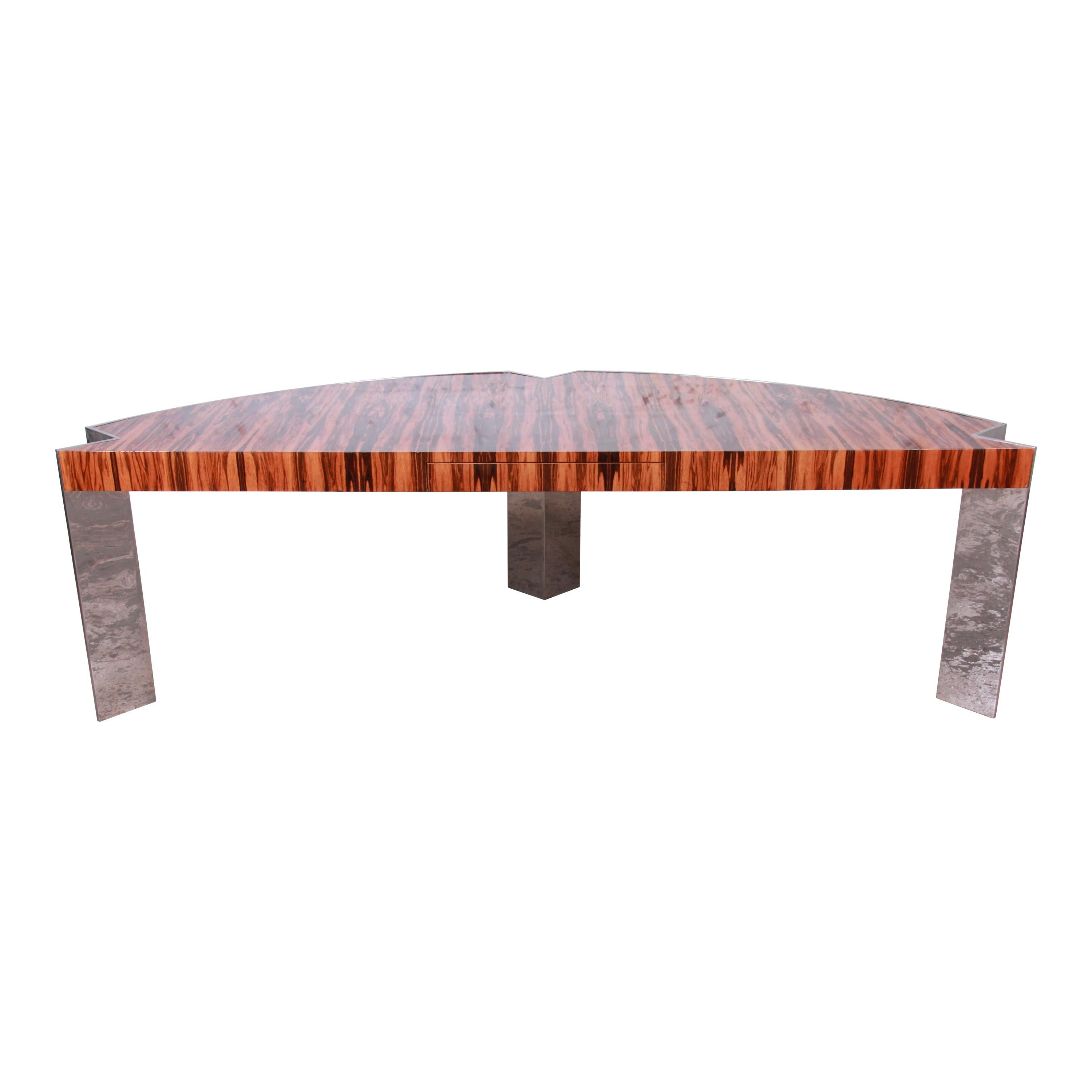 Leon Rosen for Pace Collection Brazilian Rosewood and Steel Executive Desk