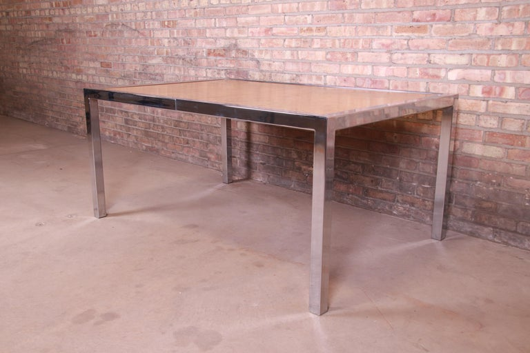 Leon Rosen for Pace Collection Burl Wood and Chrome Dining Table, Refinished For Sale 8