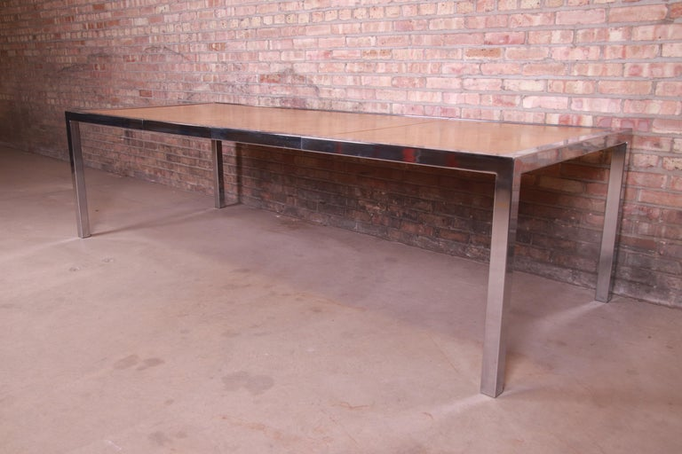 Mid-Century Modern Leon Rosen for Pace Collection Burl Wood and Chrome Dining Table, Refinished For Sale