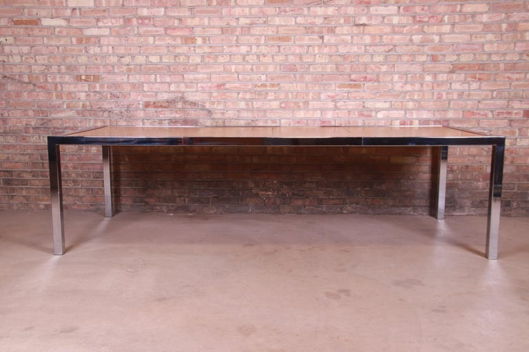 American Leon Rosen for Pace Collection Burl Wood and Chrome Dining Table, Refinished For Sale
