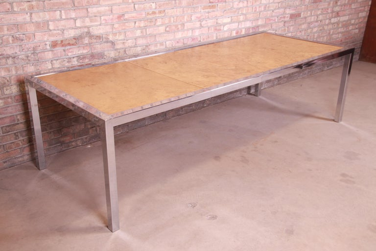 Leon Rosen for Pace Collection Burl Wood and Chrome Dining Table, Refinished In Good Condition For Sale In South Bend, IN