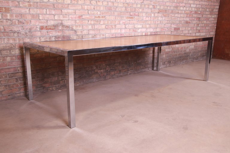 Late 20th Century Leon Rosen for Pace Collection Burl Wood and Chrome Dining Table, Refinished For Sale