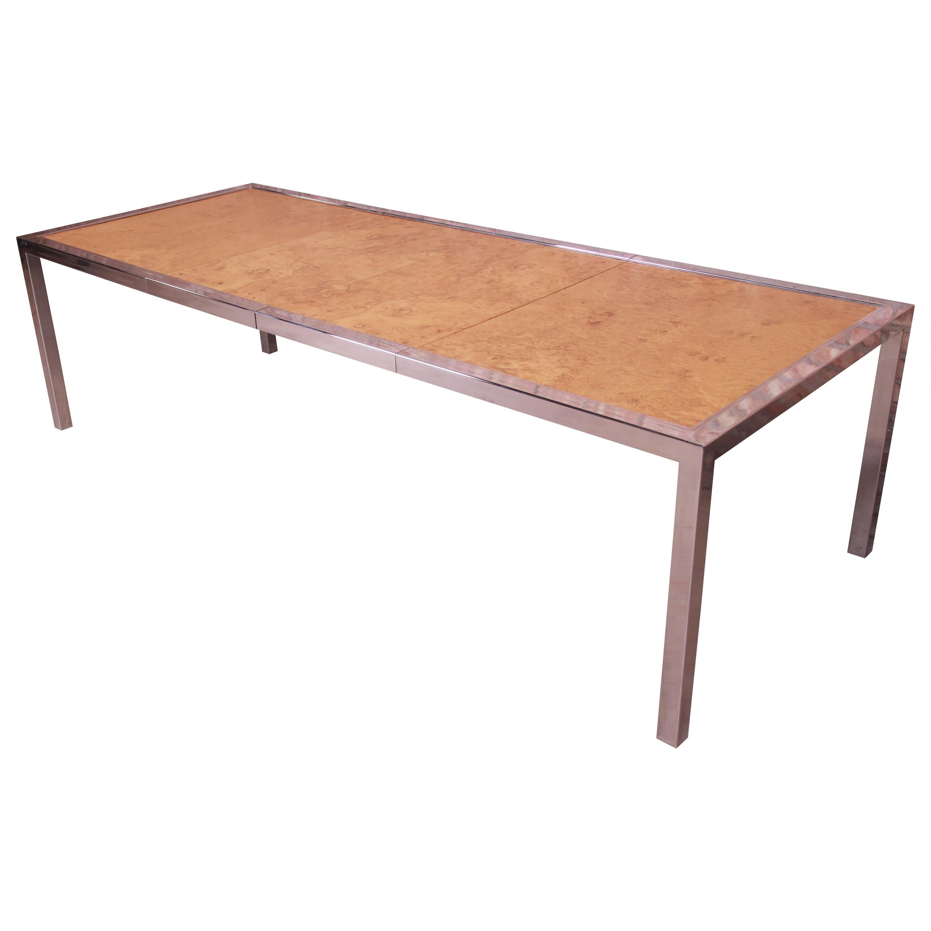 Leon Rosen for Pace Collection Burl Wood and Chrome Dining Table, Refinished
