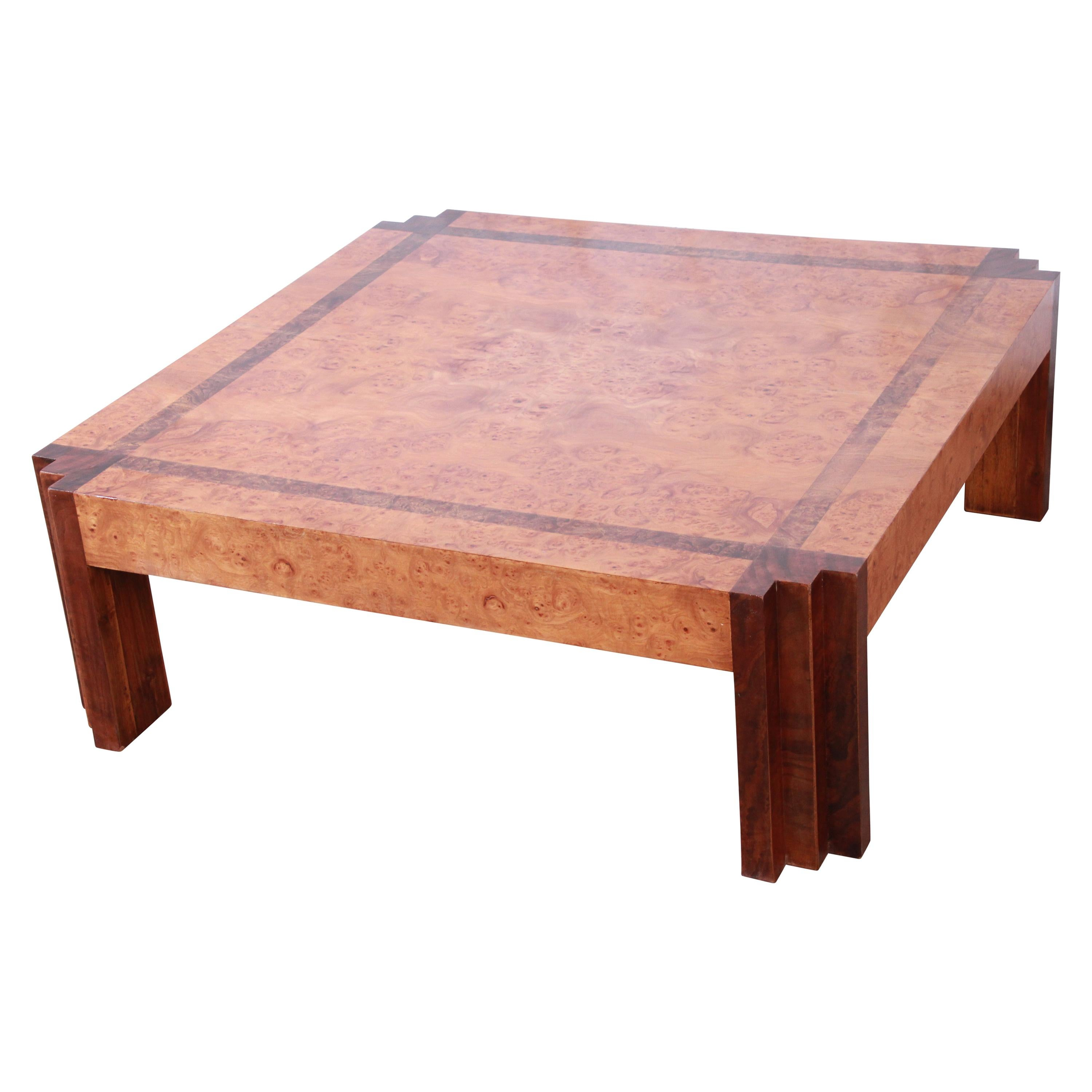 Leon Rosen for Pace Collection Burl Wood and Walnut Art Deco Cocktail Table