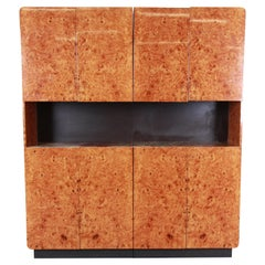 Leon Rosen for Pace Collection Burl Wood Lighted Bar Cabinet or Wall Unit