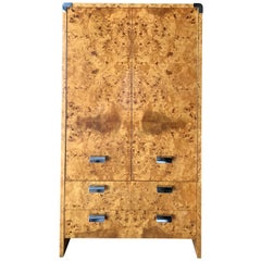 Leon Rosen for Pace Collection Burled-Walnut Wardrobe Armoire Chifforobe