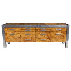 Leon Rosen for Pace Collection Burled Wood and Chrome Credenza