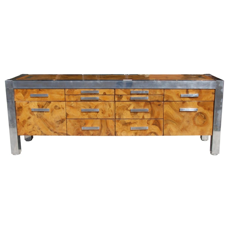 Leon Rosen for Pace Collection Burled Wood and Chrome Credenza For Sale