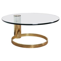 Leon Rosen for Pace Collection Cantilevered Brass and Glass Coffee Table