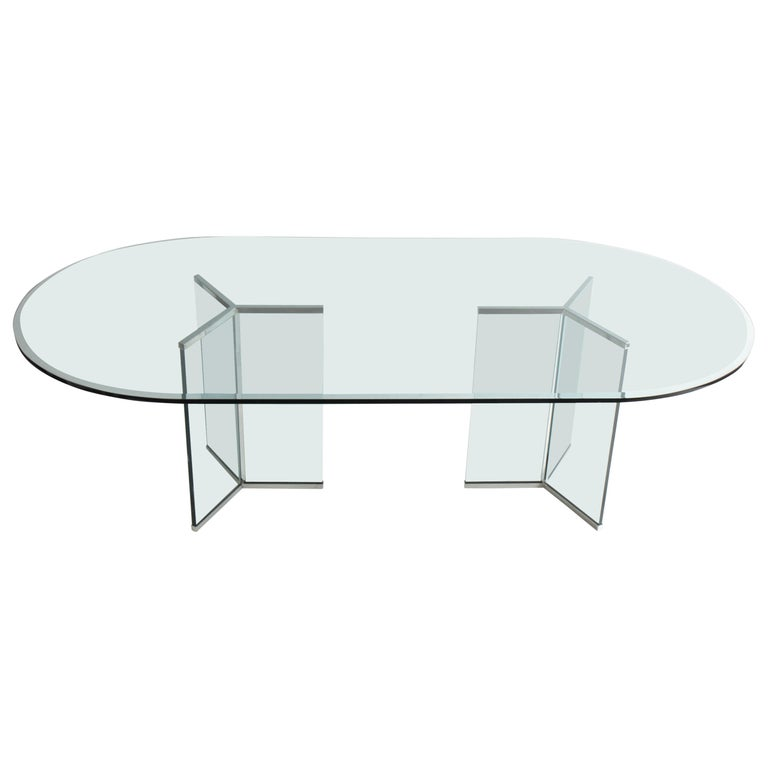 Leon Rosen for Pace Collection Glass Dining Table For Sale