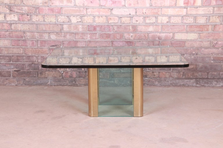 Mid-Century Modern Leon Rosen for Pace Collection Hollywood Regency Brass and Glass Cocktail Table For Sale