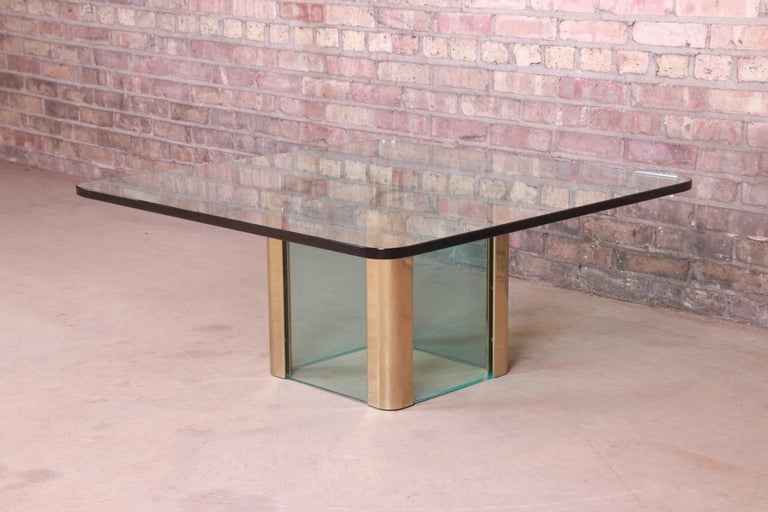 American Leon Rosen for Pace Collection Hollywood Regency Brass and Glass Cocktail Table For Sale