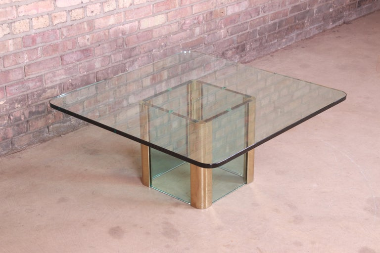 Leon Rosen for Pace Collection Hollywood Regency Brass and Glass Cocktail Table In Good Condition For Sale In South Bend, IN