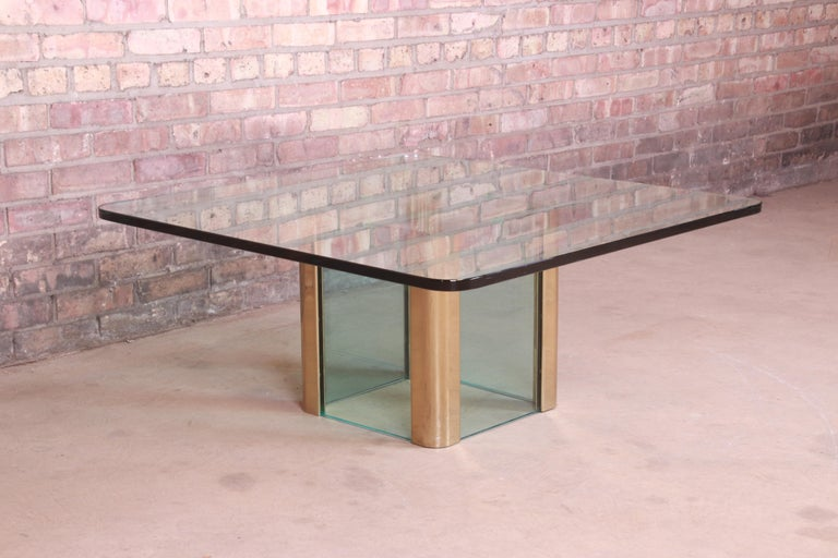 Late 20th Century Leon Rosen for Pace Collection Hollywood Regency Brass and Glass Cocktail Table For Sale