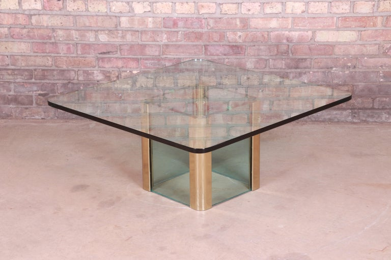 Leon Rosen for Pace Collection Hollywood Regency Brass and Glass Cocktail Table For Sale 2