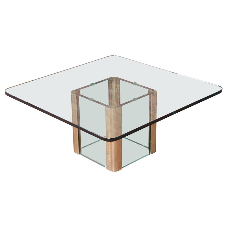 Leon Rosen for Pace Collection Hollywood Regency Brass and Glass Cocktail Table For Sale
