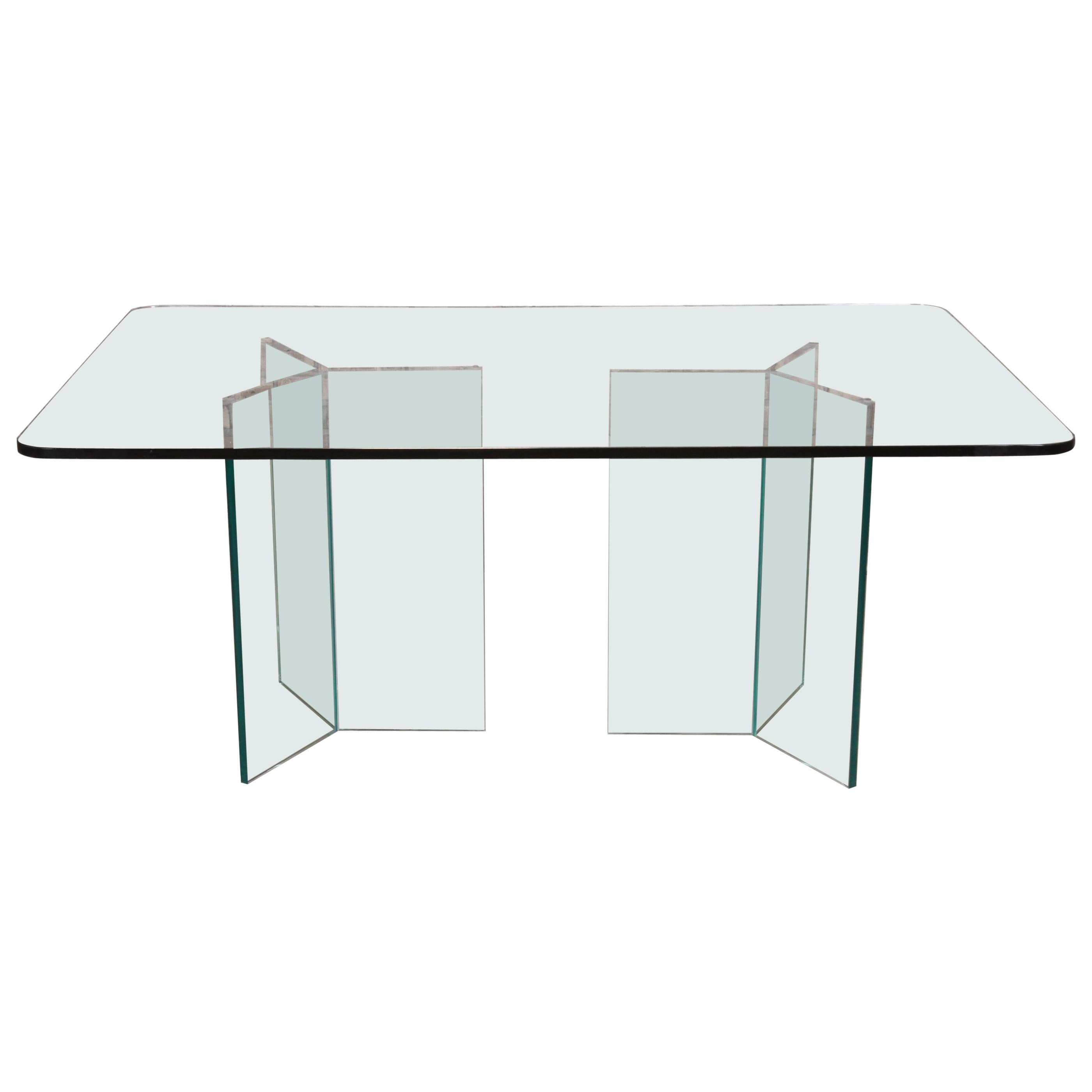 Leon Rosen for Pace Collection Hollywood Regency Glass Pedestal Dining Table