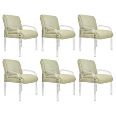Leon Rosen for Pace Collection Lucite Dining Chairs, Six