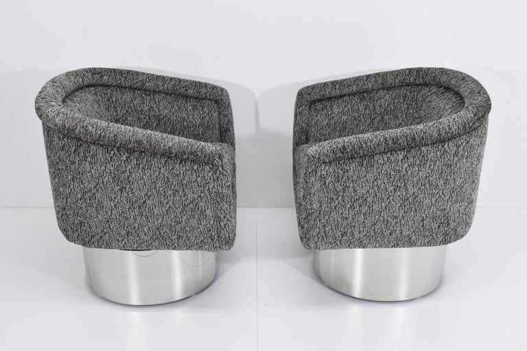 Steel Leon Rosen for Pace Collection Pair of Swivel Tub Lounge Chairs For Sale