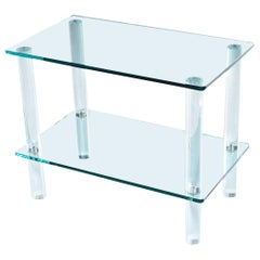 Leon Rosen for Pace Collection Style Lucite Screw Leg and Glass Cocktail Table