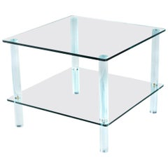 Leon Rosen for Pace Collection Style Lucite Screw Leg and Glass Coffee Table