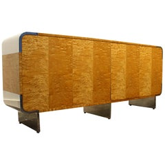 Leon Rosen for Pace Credenza Cabinet in Tiger Maple and Chrome