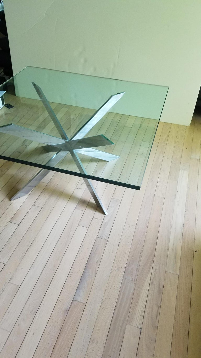 American Leon Rosen for Pace Double X Chrome Cocktail Table For Sale