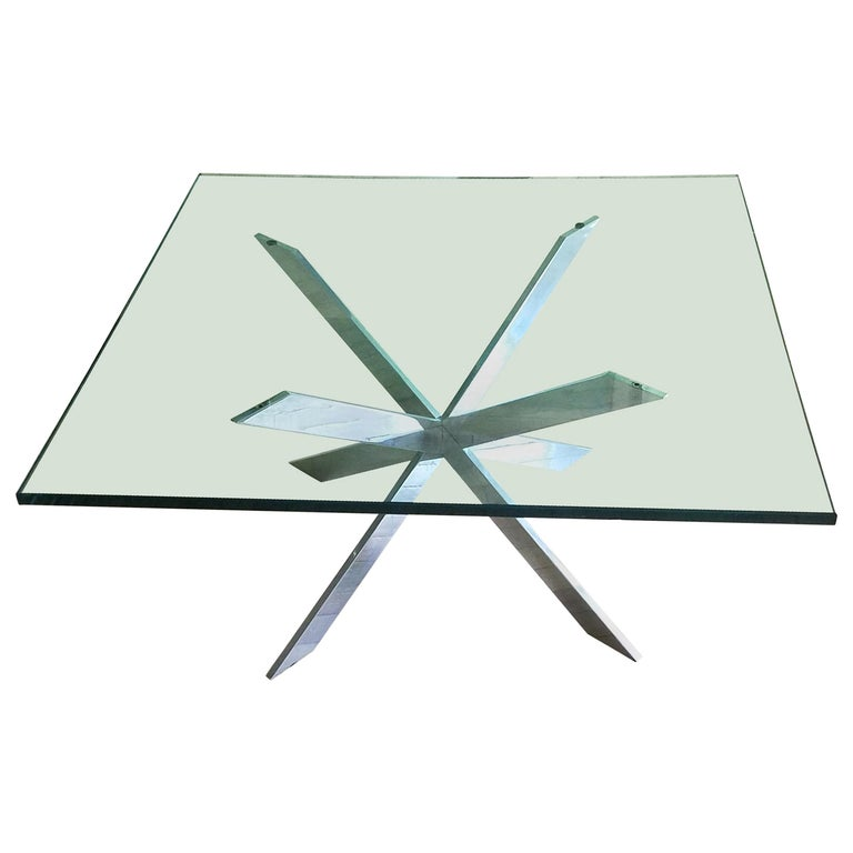 Leon Rosen for Pace Double X Chrome Cocktail Table For Sale