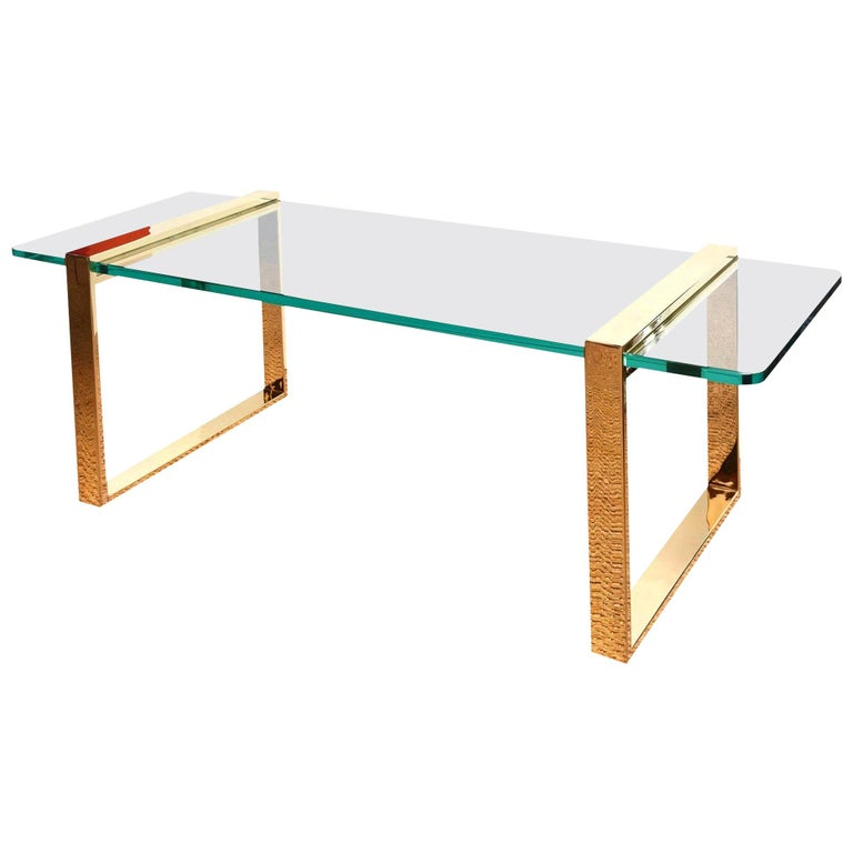 Leon Rosen for Pace Gold-Plated and Glass Sculptural Cocktail or Library Table For Sale