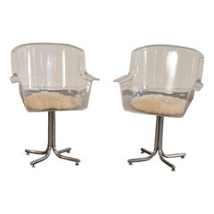 Leon Rosen for Pace Lucite Swivel Chairs