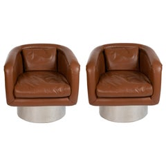 Leon Rosen for Pace Pair of Leather and Steel Swivel Chairs