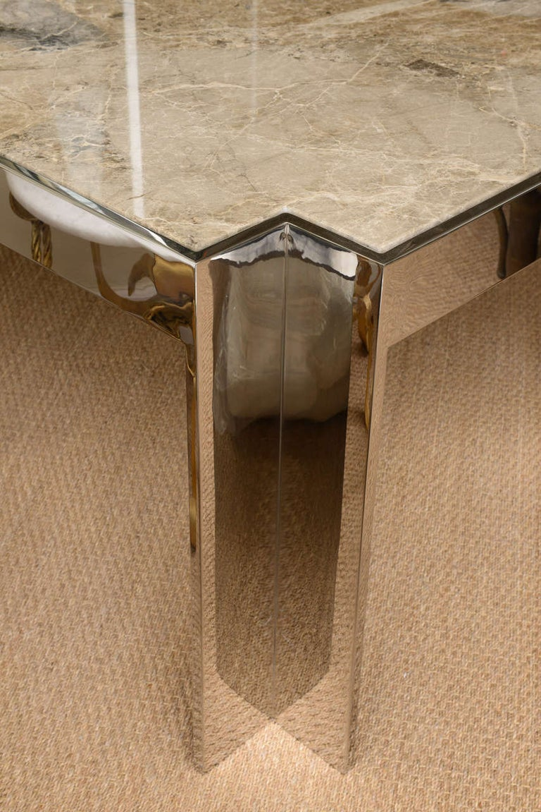 Leon Rosen for Pace Stainless Steel and Marble Game or Card Table Rare In Good Condition For Sale In North Miami, FL
