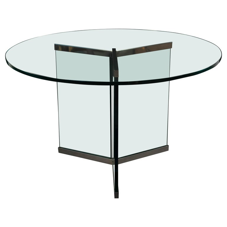 Leon Rosen Pace Chrome And Gl Round Breakfast Table For