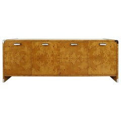 Leon Rosen Pace Collection Burl Wood Credenza with Stainless Steel Accents