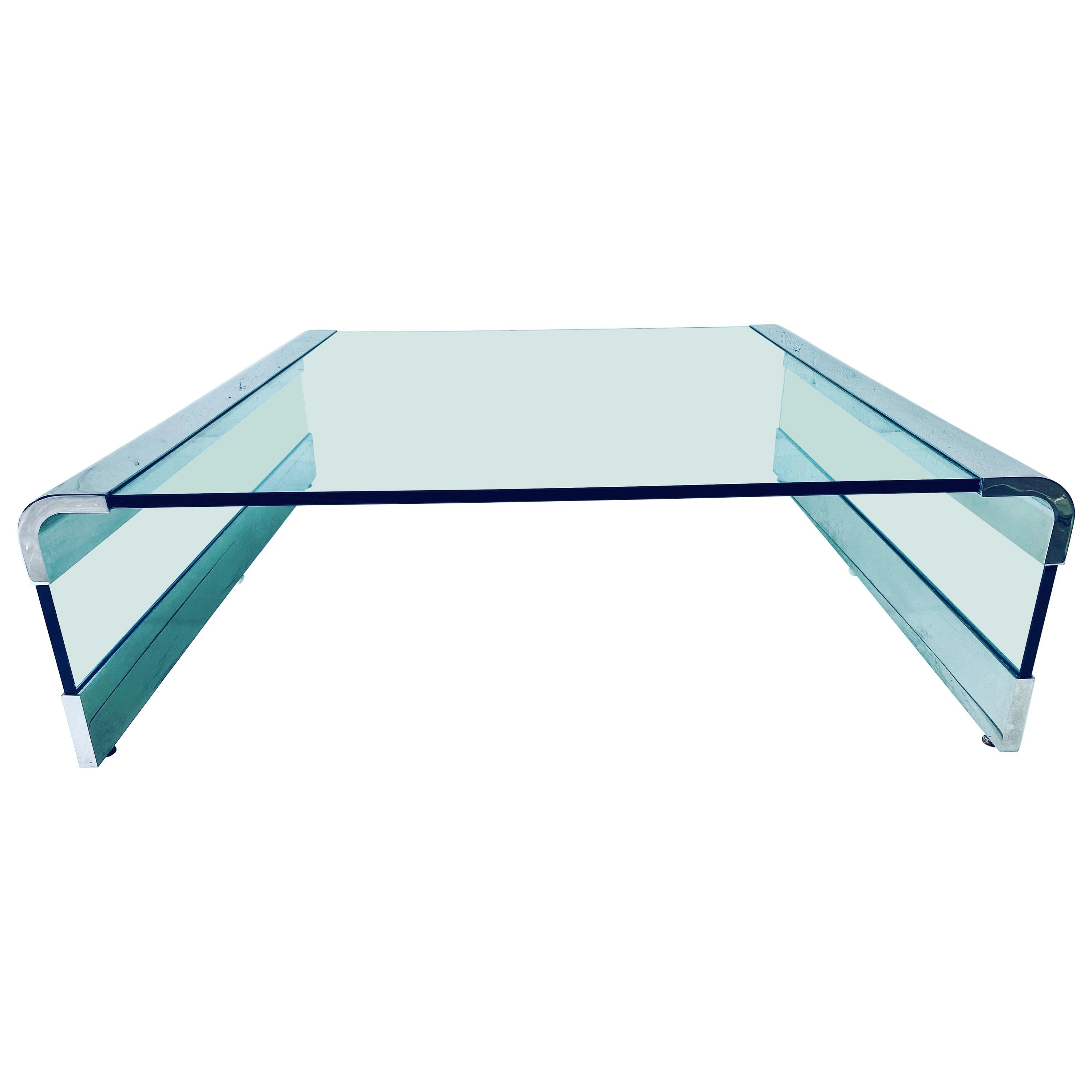 Leon Rosen Polished Chrome and Glass Waterfall Coffee Table for Pace Collection
