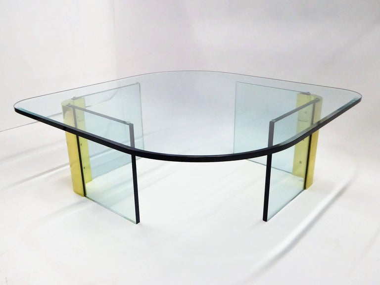 Beveled Leon Rosen Style Thick Glass and Brass Coffee Table Pace Collection For Sale