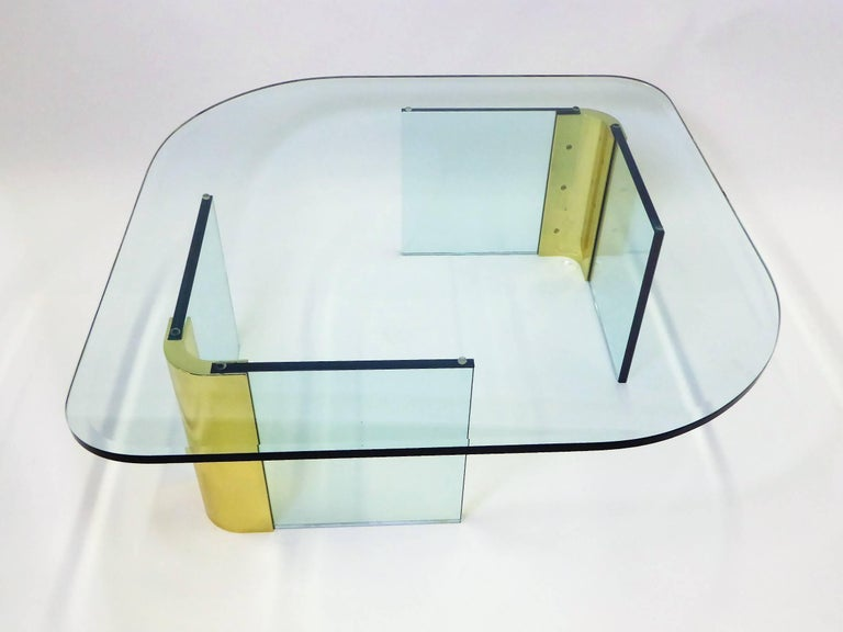 Leon Rosen Style Thick Glass and Brass Coffee Table Pace Collection For Sale 2