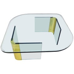 Leon Rosen Style Thick Glass and Brass Coffee Table Pace Collection